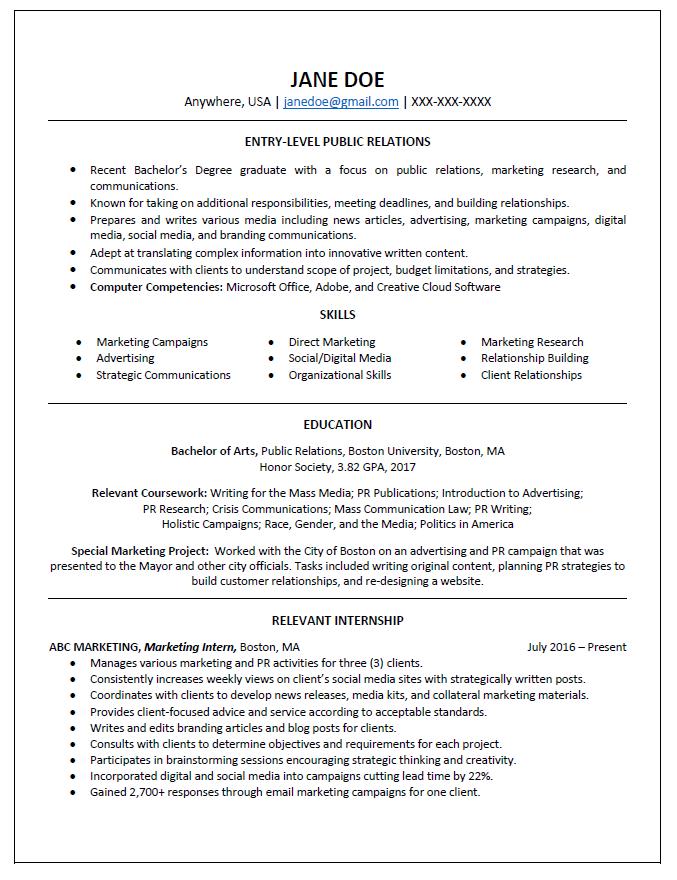 Graduate Resume, College Resume,